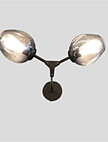 Northern Europe Vintage Black Wall Sconce 2 heads Smoky Gray Glass Wall Lamp Living Room Dining Room Cafe Bars Light Fixture