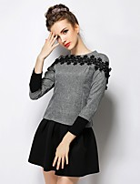 Women's Going out Work Simple T-shirt Skirt Suits,Solid Round Neck Lace Inelastic