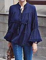 Для женщин На каждый день Рубашка V-образный вырез,Винтаж Простое Однотонный Длинный рукав,Другое