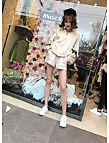Women's Going out Casual/Daily Party/Cocktail Sexy Cute Shirt Skirt Suits,Solid Round Neck Denim Micro-elastic