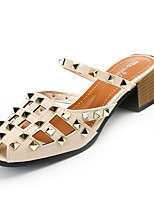 Women's Sandals Slingback PU Summer Casual Slingback Rivet Block Heel White Black 2in-2 3/4in