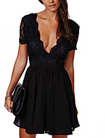 Women's Going out Party Club Sexy Simple Street chic Backless Slim Lace Grace Sheath DressPatchwork Deep V Mini Short Sleeve Spring Summer High Rise