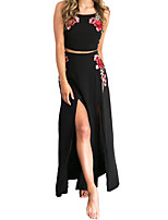 Women's Casual/Daily Beach Sexy Cute Tank Top Skirt Suits,Print One Shoulder Sleeveless