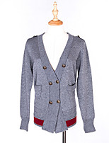 Women's Casual/Daily Regular Cardigan,Solid V Neck Long Sleeve Polyester Spring Medium Inelastic