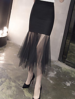 Women's High Rise Midi Skirts,Sexy Simple Bodycon Tulle Solid