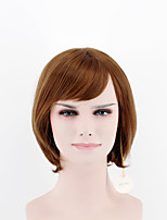 Japan and South Korea Fashion lady short paragraph wig light brown side bangs straight hair high temperature wire wig