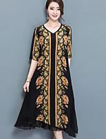 Ample Robe Femme Décontracté / Quotidien Grandes Tailles Vintage,Imprimé Col en V Midi Manches Courtes Nylon Eté Taille Normale