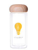 300ml mini conveniente parede dupla de vidro de viagem cartoon água garrafa de madeira drinkware tampa