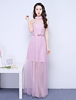 Ankle-length Halter Bridesmaid Dress - Convertible Dress Elegant Sleeveless Satin Tulle