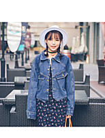 Women's Going out Simple Spring Denim Jacket,Solid Stand Long Sleeve Regular Others