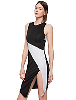 ANGELL Women's Going out Casual/Daily Simple Street chic A Line Sheath DressColor Block Round Neck Asymmetrical Sleeveless Cotton Polyester
