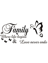 Wall Stickers Wall Decas Style Family English Words & Quotes PVC Wall Stickers