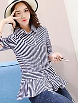 Women's Casual/Daily Simple Spring Summer Shirt,Striped Shirt Collar ½ Length Sleeve Bamboo Fiber Opaque