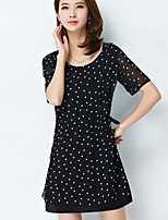 Women's Plus Size Casual/Daily Simple Loose Dress,Polka Dot Round Neck Above Knee Short Sleeve Cotton Polyester Summer Mid Rise Inelastic