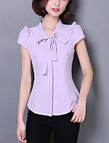 Women's Plus Size Work Simple Slim OL Summer BlouseSolid Bow Stand Short Sleeve Polyester Thin