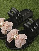 Черный Розовый-Для женщин-Повседневный-Резина-На плоской подошве-Босоножки-Тапочки и Шлепанцы