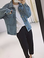 Women's Going out Casual/Daily Vintage Simple Fall Denim Jacket,Solid Shirt Collar Long Sleeve Regular Others