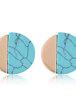 Stud Earrings Euramerican Fashion Resin Alloy Round Blue White Jewelry For Daily 1 Pair