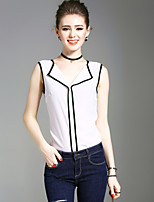 XSSLWomen's Going out Casual/Daily Beach Vintage Simple Street chic Summer Tank TopSolid V Neck Sleeveless Polyester Medium