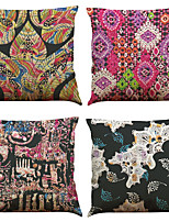 Set of 4 Fashion Pattern  Linen Pillowcase Sofa Home Decor Cushion Cover