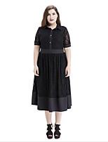 Women's Plus Size Vintage Lace Dress,Solid Shirt Collar Midi Short Sleeve Polyester Summer Mid Rise Micro-elastic Medium