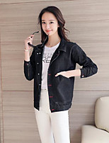 Women's Holiday Street chic Spring Denim Jacket,Solid Stand Long Sleeve Regular Cotton