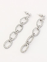Drop Earrings Euramerican Fashion Rhinestone Alloy Silver Chain Jewelry For Party 1 Pair