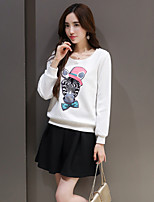 Women's Casual/Daily Simple Spring Hoodie Skirt Suits,Floral Round Neck Long Sleeve Cotton