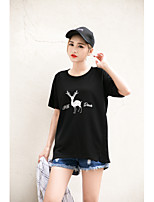 Women's Going out Casual/Daily Sports Simple Cute Summer T-shirt,Solid Embroidered Round Neck Short Sleeve Cotton Rayon Thin