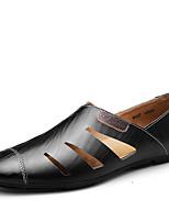 -Для мужчин-Для офиса Повседневный Для вечеринки / ужина-Кожа-На плоской подошве-Удобная обувь Мокасины-Туфли на шнуровке