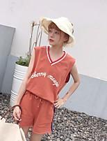 Для женщин Спорт На каждый день Пляж Лето Как у футболки Брюки Костюмыпросто Активный Однотонный Без рукавов