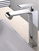 Contemporain Set de centre Cascade large spary Douche with  Soupape céramique Mitigeur un trou for  Chrome , Robinet lavabo