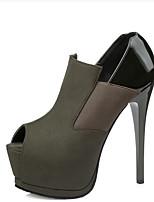 Черный Серый Зеленый Розовый-Для женщин-Повседневный-ПолиуретанБосоножки-Обувь на каблуках