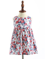 Girl's Casual/Daily Floral Dress,Cotton Summer Sleeveless