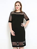 Women's Plus Size Casual/Daily Party Sexy Simple Cute Shift T Shirt Dress,Check Round Neck Midi ½ Length Sleeve Polyester Spring Summer