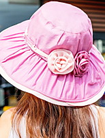 Women Ribbon Bow Flower Print  Sun Summer Dome Chiffon Hat