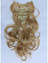 7pcs/Set 130g Medium Blonde Wavy 50cm Hair Extension Clip In Synthetic Hair Extensions