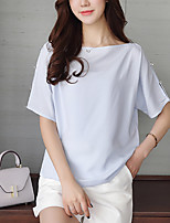Women's Going out Beach Simple Boho Summer Fall Blouse,Solid Boat Neck Short Sleeve Silk Cotton Opaque