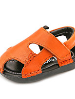 Boys' Baby Sandals Moccasin Cowhide Summer Casual Moccasin Flat Heel White Black Yellow Flat