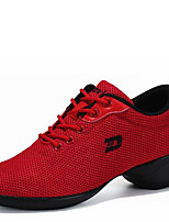 Non Customizable Women's Dance Shoes Fabric Fabric Dance Sneakers / Modern Sneakers Low Heel Outdoor Black/White/Red