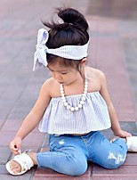 Girls' Casual/Daily Beach Holiday Solid Sets Cotton Summer Long Pant Kids Baby Clothing Set