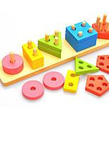 Blocos de Construir Brinquedo Educativo para presente Blocos de Construir Hobbies de Lazer Circular Quadrangular Triângulo Madeira2 a 4