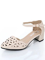 Women's Heels Spring Summer Club Shoes Comfort Hollow Out Breathe Freely Dress Casual Chunky Heel Buckle Beige Black White