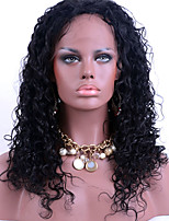Dark Black Full Lace Human Hair Wigs Kinky Curly 100% Brazilian Virgin Hair Adjustable Lace Wigs for Black Woman
