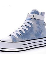Women's Sneakers Spring Comfort Canvas Casual Light Blue Black White