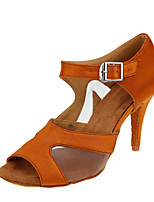 Women's Latin Ballroom Salsa Tango Dance Shoes Customized Heels Soft Leather Bottom Dancing Shoes Brown