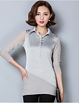 Women's Going out Casual/Daily Simple Fall Blouse,Solid Shirt Collar Long Sleeve Blue Red Black Gray Nylon Medium