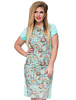 Women's Plus Size Going out Party Vintage Bodycon Dress,Floral Round Neck Knee-length Short Sleeve Polyester Summer High Rise