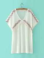 Tee-shirt Femme,Imprimé Sortie Décontracté / Quotidien Sexy simple Chic de Rue Eté Automne Manches Courtes V Profond Coton Fin Moyen