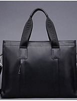 Men Cowhide Office & Career Tote Coffee Black